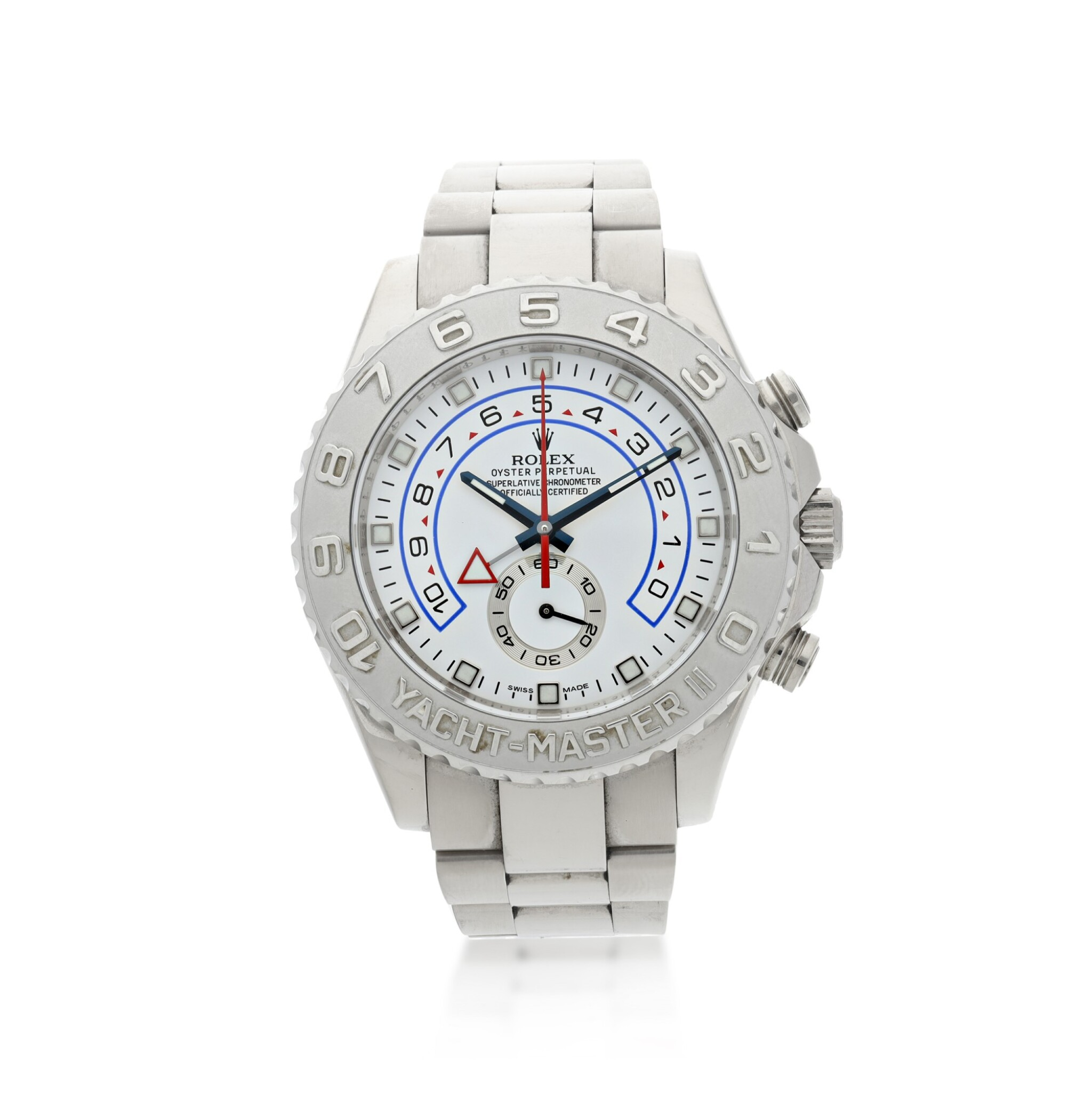 View full screen - View 1 of Lot 111. ROLEX | REFERENCE 116689 YACHT-MASTER II A WHITE GOLD AUTOMATIC FLYBACK CHRONOGRAPH WRISTWATCH WITH REGATTA COUNTDOWN AND BRACELET, CIRCA 2008.