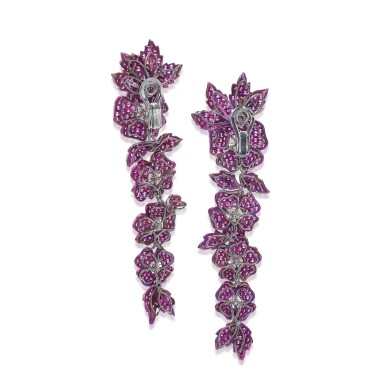 View 3. Thumbnail of Lot 88. Pair of ruby and diamond earrings.