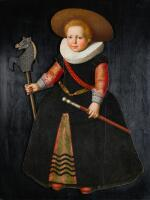 DUTCH SCHOOL, CIRCA 1630 | A portrait of a young boy, full-length, wearing a green hat, coral beads and a white frill collar, and holding a baton and a hobby horse