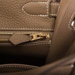 HERMÈS | ETOUPE RETOURNE KELLY 32CM OF TAURILLON CLEMENCE LEATHER WITH GOLD HARDWARE