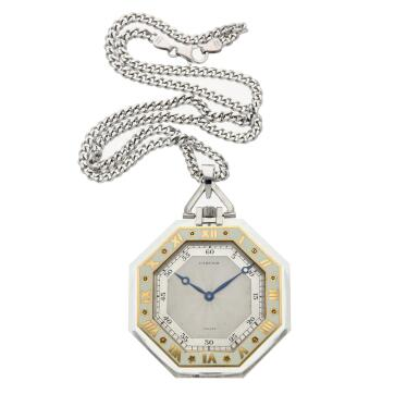 View 4. Thumbnail of Lot 396. A rock crystal, platinum, yellow gold and enamel open faced watch, Circa 1925 .
