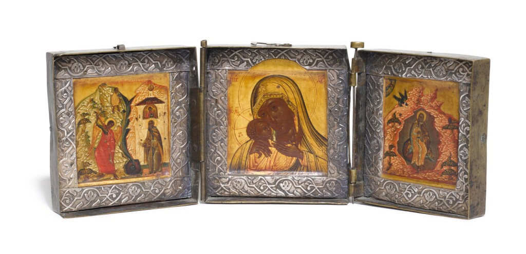 A TRIPTYCH ICON OF THE MOTHER OF GOD, THE MIRACLE OF THE ARCHANGEL MICHAEL AT CHONAE AND THE PROPHET ELIJAH IN THE DESERT, RUSSIAN, LATE 19TH CENTURY
