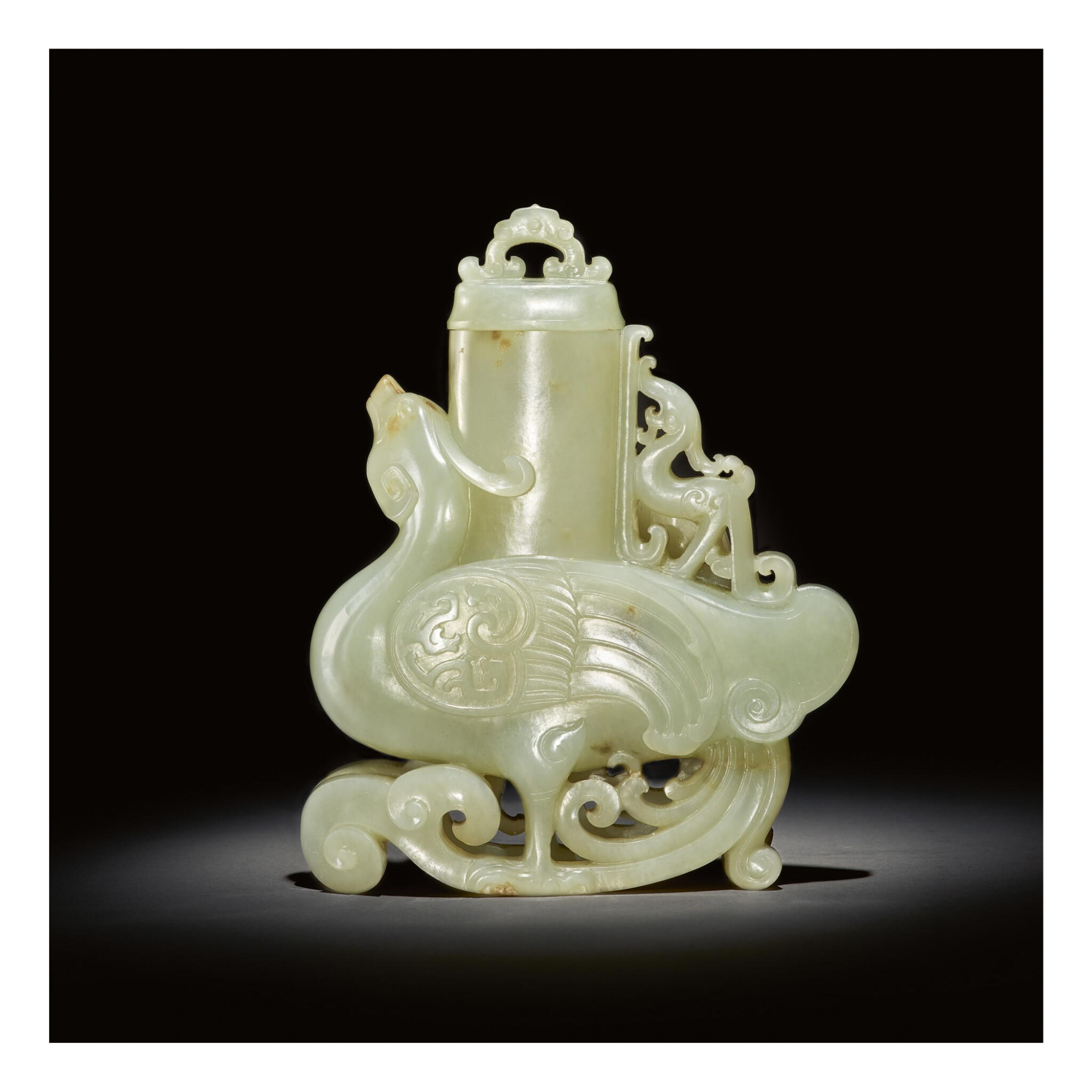 View full screen - View 1 of Lot 229. A PALE CELADON JADE 'PHOENIX' VASE AND COVER,  QING DYNASTY, QIANLONG PERIOD.