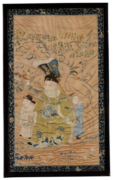 View 1. Thumbnail of Lot 46. A silk embroidered 'official with attendants' panel, Qing dynasty.