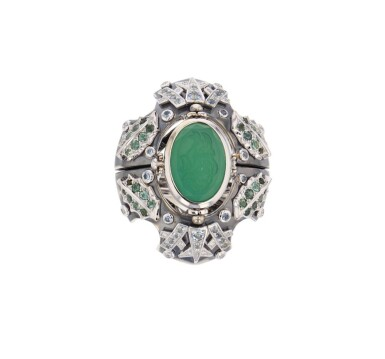 Elie Top, Gem-Set, Diamond and Chrysoprase Ring [Bague Pierres de Couleur, Diamants et Chrysoprase], 'Eau d'Hiver'