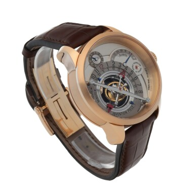 View 3. Thumbnail of Lot 27. INVENTION PIECE 1 REF GF02N LIMITED EDITION PINK GOLD DOUBLE TOURBILLON WRISTWATCH WITH POWER RESERVE INDICATION CIRCA 2008 [ Greubel Forsey GF02N型號「INVENTION PIECE 1」限量版粉紅金雙體陀飛輪腕錶備動力儲存顯示,年份約2008].