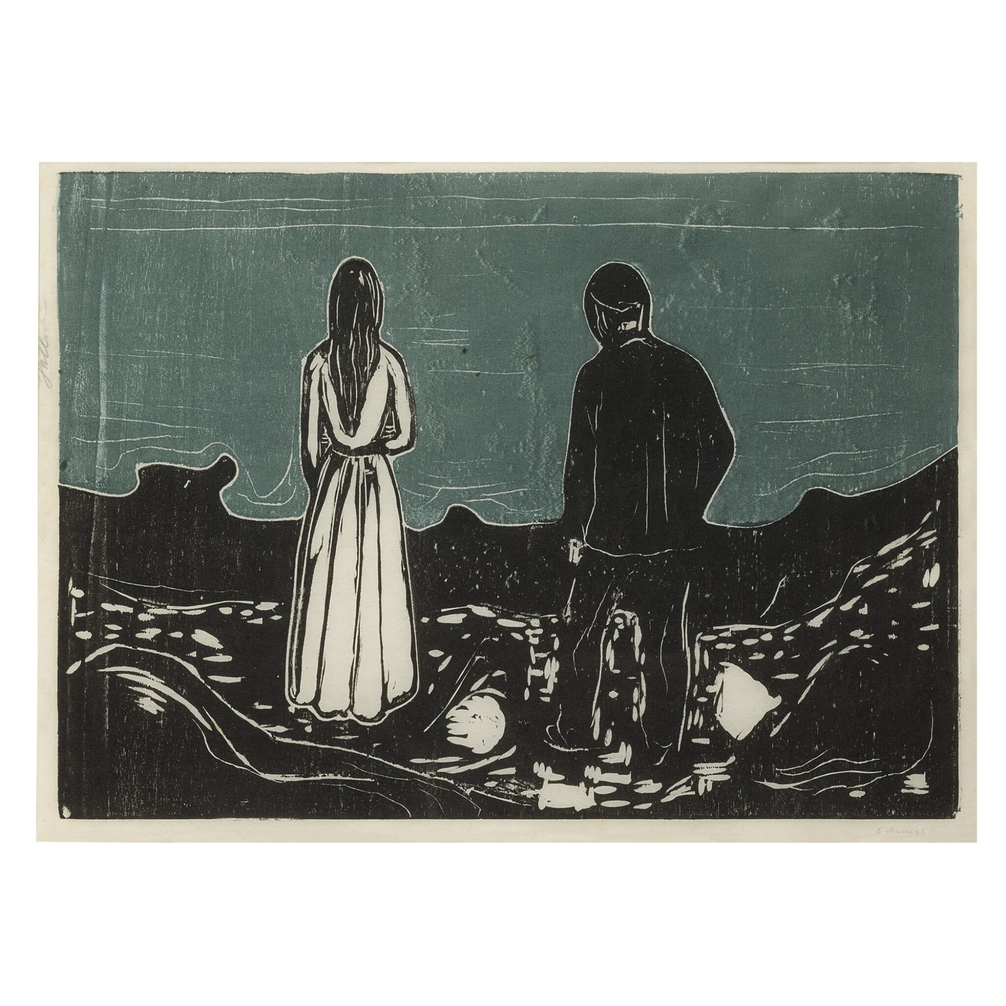 EDVARD MUNCH   TWO HUMAN BEINGS. THE LONELY ONES (SCHIEFLER 133; WOLL 157)