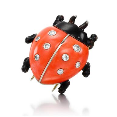 CORAL, LACQUER AND DIAMOND BROOCH, 'COCCINELLE' | CARTIER, 1960S