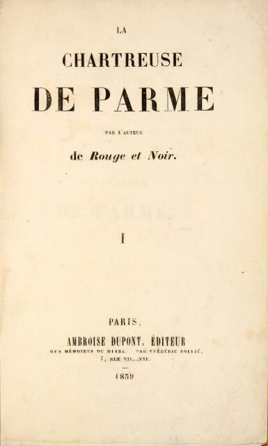 View 1. Thumbnail of Lot 190. STENDHAL. La Chartreuse de Parme. 1839. 2 vol, demi-mar. de Pagnant, relié sur brochure. Édition originale..