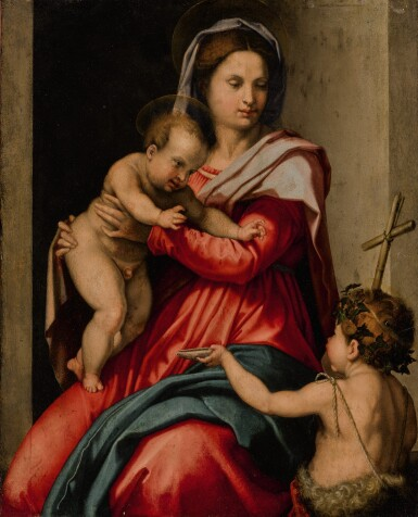 View 1. Thumbnail of Lot 24. FOLLOWER OF ANDREA DEL SARTO | MADONNA AND CHILD WITH THE INFANT SAINT JOHN THE BAPTIST.