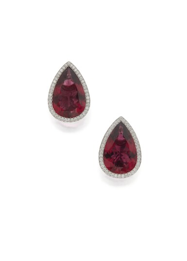 PAIR OF RUBELLITE AND DIAMOND EARCLIPS