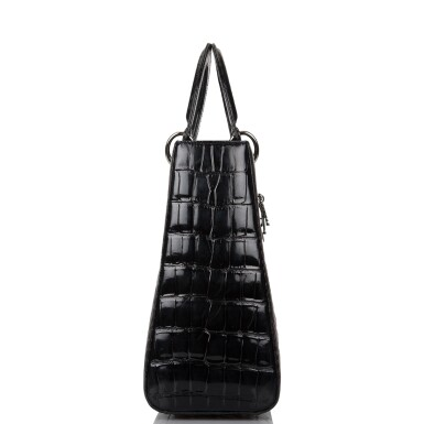 View 3. Thumbnail of Lot 105. CHRISTIAN DIOR    BLACK SHINY NILOTICUS CROCODILE LARGE LADY DIOR BAG WITH RUTHENIUM HARDWARE.