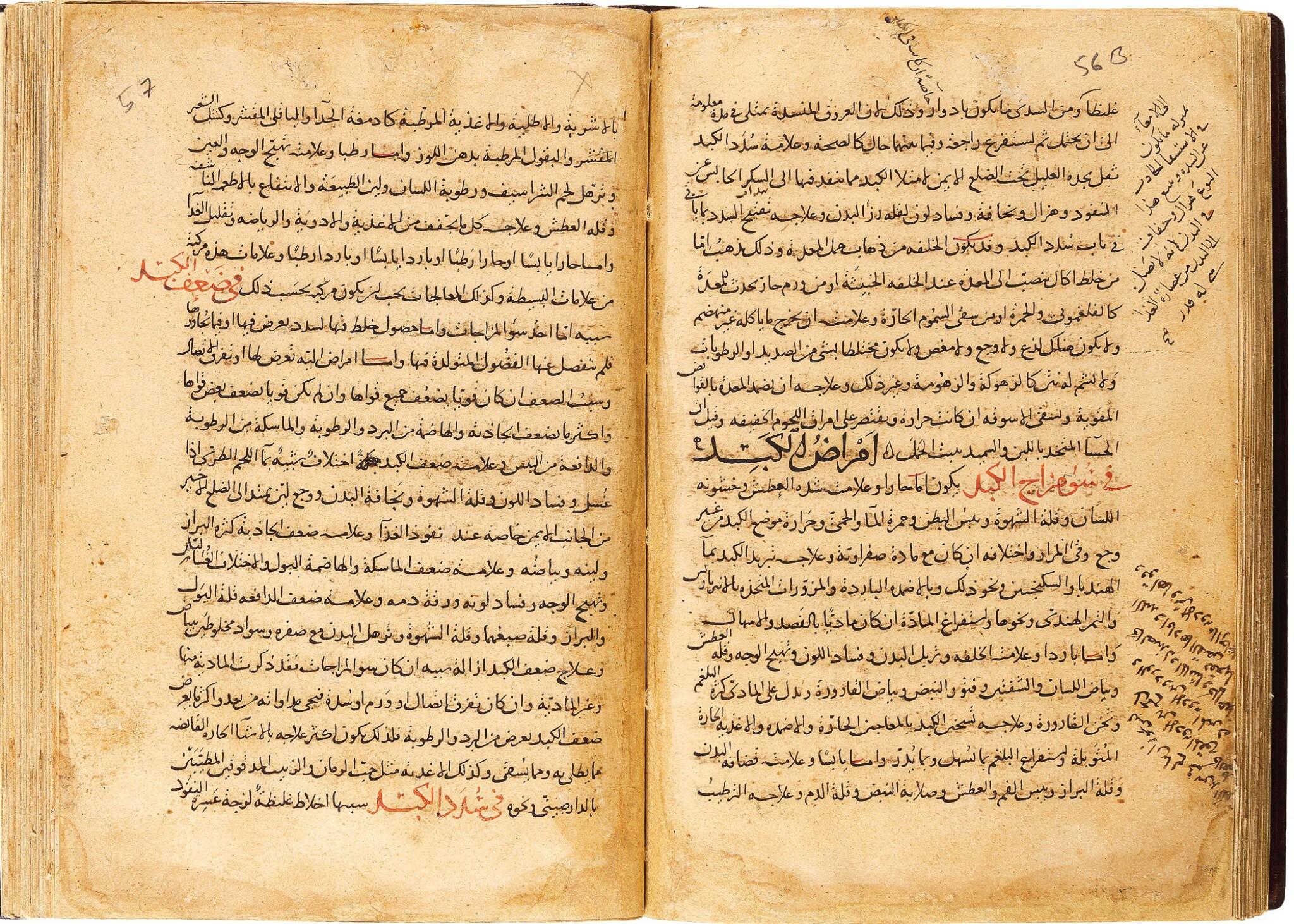 View full screen - View 1 of Lot 115. NAJIB AL-DIN AL-SAMARQANDI (D.1222 AD), KITAB AL-ASBAB WA'AL-'ALAMAT ('THE CAUSES OF ILLNESSES AND THEIR SYMPTOMS AND THEIR TREATMENTS') COPIED BY MUHAMMED B. ABI BAKIR AL-NISHAPURI, CENTRAL ASIA, DATED 594 AH/1197 AD.