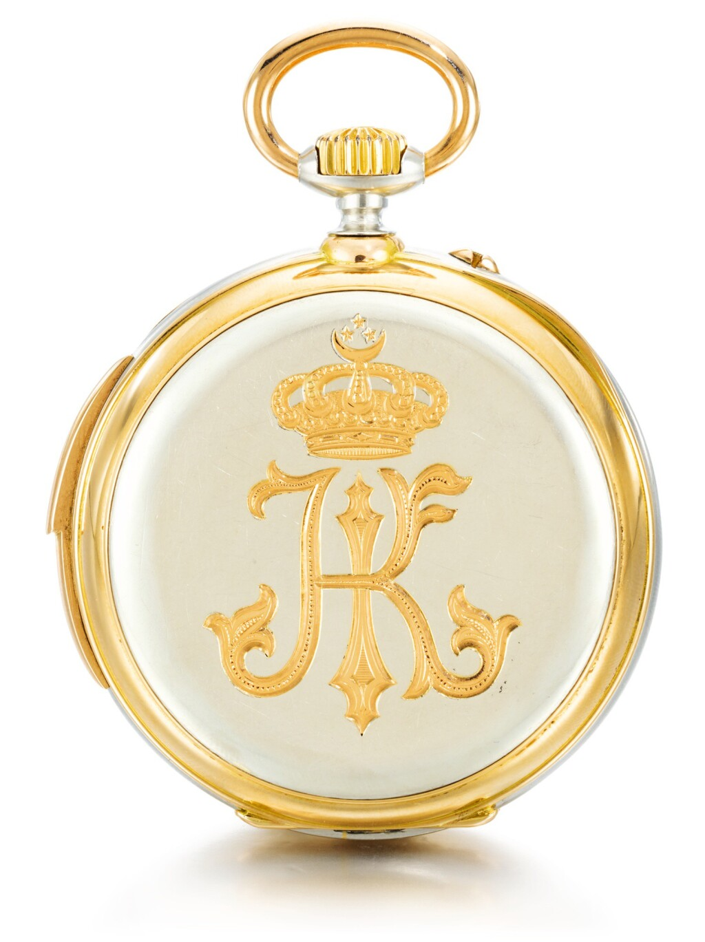 GIRARD-PERREGAUX, CHAUX-DE-FONDS | A VERY FINE AND POSSIBLY UNIQUE PINK GOLD AND PLATINUM OPEN-FACED MINUTE REPEATING KEYLESS LEVER WATCH, MADE FOR HH ISMAIL PASHA, KHEDIVE OF EGYPT AND SUDAN  1887, NO. 109141