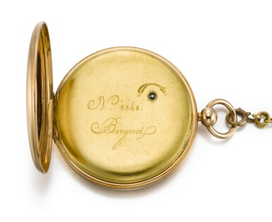 View 3. Thumbnail of Lot 57. BREGUET ET FILS   [寶璣]  | A FINE AND UNUSUAL GOLD RUBY CYLINDER WATCH WITH DATE AND SHORT CHAIN  NO. 2348, 'MONTRE SIMPLE' SOLD TO SON ALTESSE ROYALE LE DUC DE CAMBRIDGE ON 10 APRIL 1818 FOR 1172 FRANCS   [罕有黃金懷錶備紅寶石工字輪擒縱機芯、日期及短錶鍊,編號2348,1818年4月10日以1,172法郎售予劍橋公爵殿下].