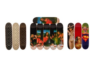 A Group of Supreme Skateboards