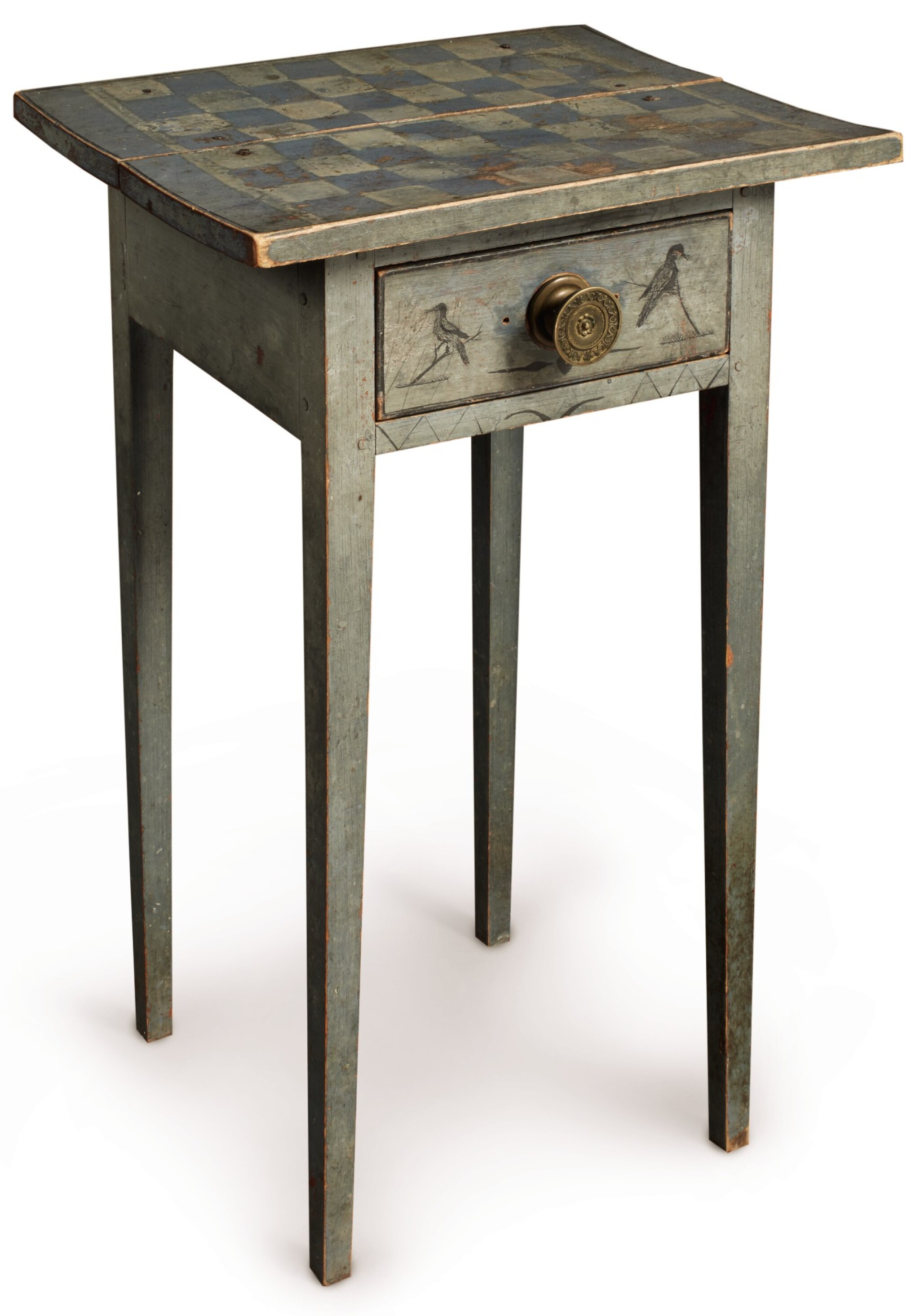 View full screen - View 1 of Lot 1438. VERY FINE FEDERAL BLUE PAINT-DECORATED PINE ONE-DRAWER STAND, NEW ENGLAND, CIRCA 1820.