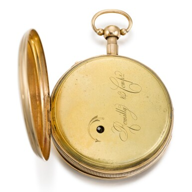 View 3. Thumbnail of Lot 286. ROMILLY & COMPE   A GOLD QUARTER REPEATING AUTOMATON WATCH WITH JACQUEMARTS, CIRCA 1790 NO. 5089.