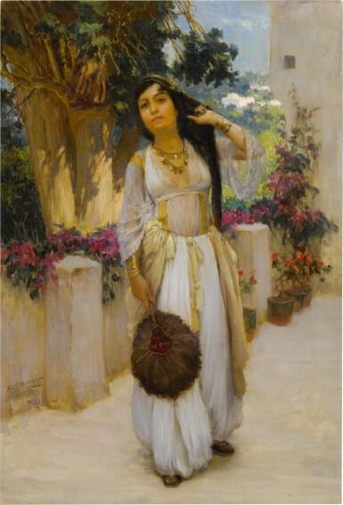View 1. Thumbnail of Lot 27. FREDERICK ARTHUR BRIDGMAN | WOMAN OF ALGIERS ON A BALCONY (A VARIANT).