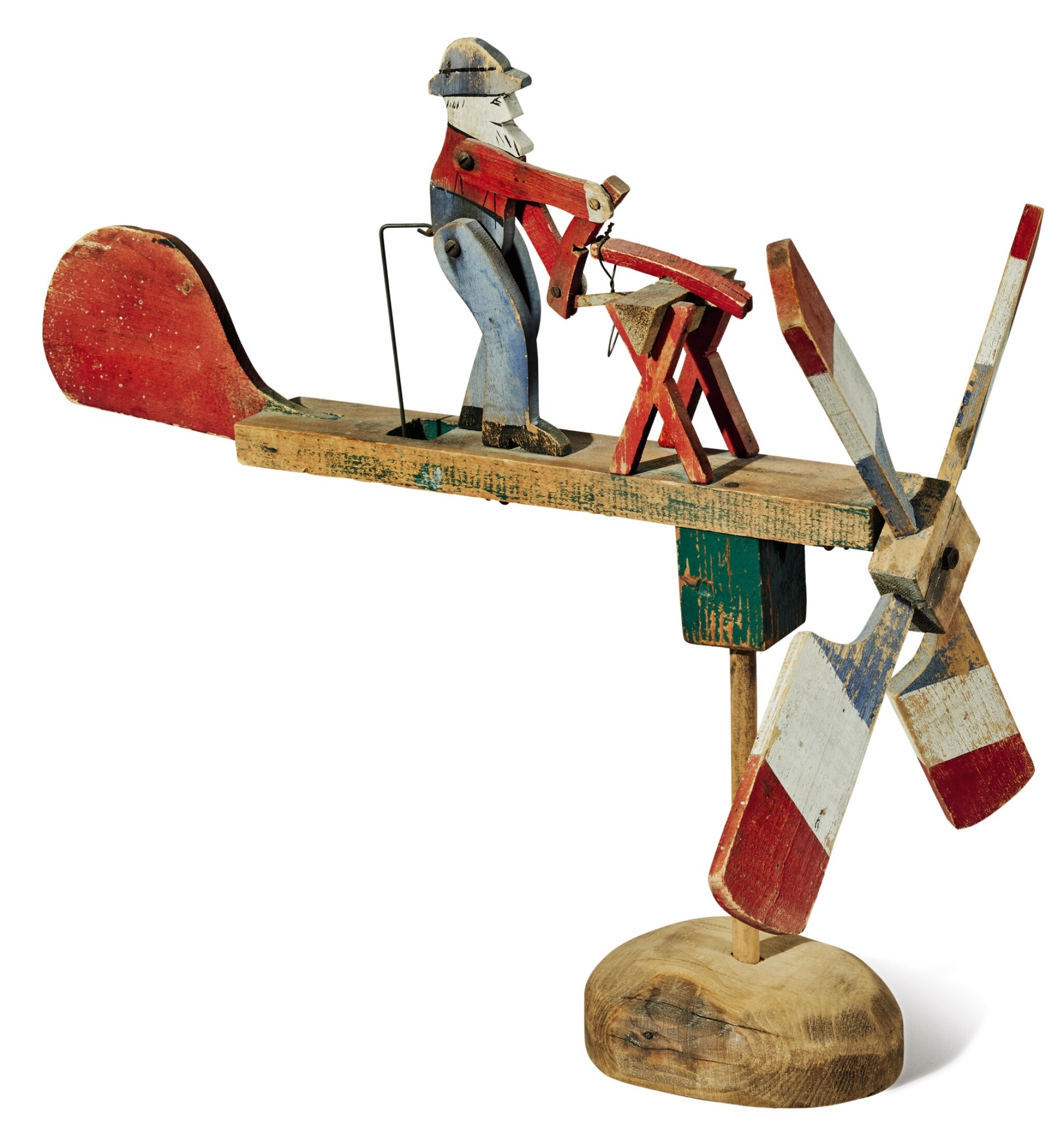 View full screen - View 1 of Lot 1463. POLYCHROME-PAINTED PINE WOODWORKER WHIRLIGIG, EARLY 20TH CENTURY.