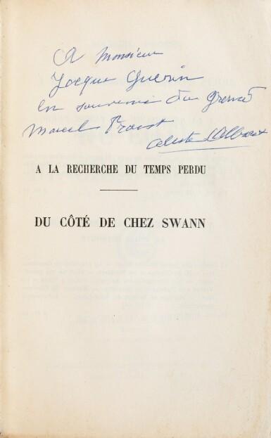 View 2. Thumbnail of Lot 295. Du côté de chez Swann. 1913. Ed originale. Exemplaire de Céleste Albaret/Jacques Guérin. + 2 billets autographes.