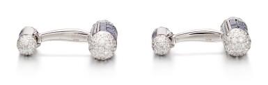 View 2. Thumbnail of Lot 1108. Pair of Sapphire and Diamond Cufflinks | 格拉夫| 藍寶石 配 鑽石 袖扣一對 (藍寶石及鑽石共重約4.70及2.30克拉).