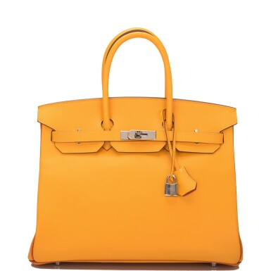 View 1. Thumbnail of Lot 15. Hermès Horseshoe Stamped (HSS) Bi-color Jaune D'Or and Sanguine Birkin 35cm of Epsom Leather with Palladium Hardware.
