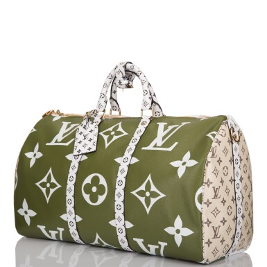 View 5. Thumbnail of Lot 121. Louis Vuitton Khaki Green Keepall Bandoulière 50 of Giant Monogram Canvas with Polished Brass Hardware .