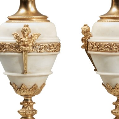 View 3. Thumbnail of Lot 128. A Pair of Gilt Bronze and Gilt Metal-Mounted White Marble Lamps.