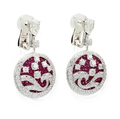 View 2. Thumbnail of Lot 1036. 'Wave' Pair of Ruby and Diamond Pendent Earrings | 格拉夫| 'Wave' 紅寶石 配 鑽石 耳墜一對 (紅寶石及鑽石共重約4.50及6.80克拉).