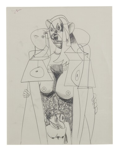 View 1. Thumbnail of Lot 43. GEORGE CONDO   STANDING FEMALE FIGURE.