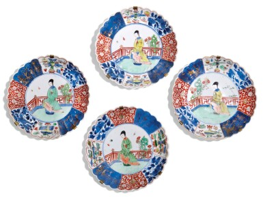 A SET OF FOUR FAMILLE-VERTE DISHES QING DYNASTY, 18TH CENTURY