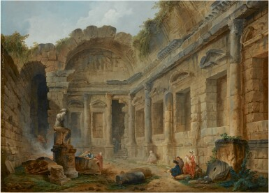 View 1. Thumbnail of Lot 17. HUBERT ROBERT | THE TEMPLE OF DIANA AT NIMES WITH FIGURES IN THE FOREGROUND INCLUDING AN ARTIST SKETCHING.