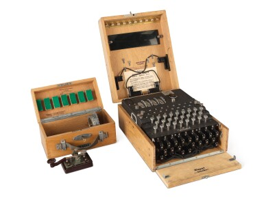 "ENIGMA M4 | A FULLY OPERATIONAL FOUR-ROTOR (""M4"") KRIEGSMARINE ENIGMA CIPHER MACHINE. BERLIN-WILMERSDORF, GERMANY, HEIMSOETH UND RINKE, 1942, SEIZED FROM THE BAUAUFSICHT DER KRIEGSMARINE IN TRONDHEIM, NORWAY, AFTER THE CAPITULATION OF NAZI FORCES THERE IN 1945"