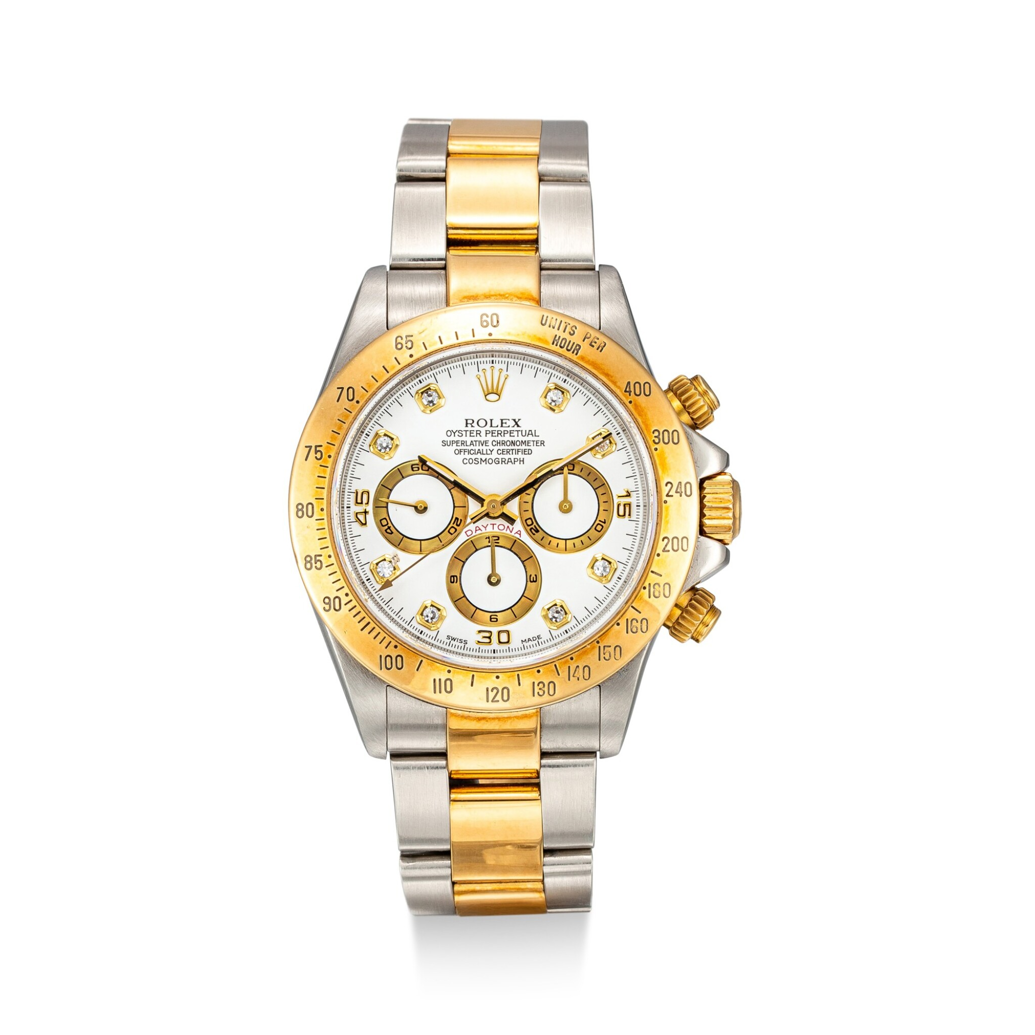 View full screen - View 1 of Lot 853. ROLEX | COSMOGRAPH DAYTONA, REFERENCE 16523 A YELLOW GOLD, STAINLESS STEEL AND DIAMOND-SET CHRONOGRAPH WRISTWATCH WITH BRACELET, CIRCA 1999.
