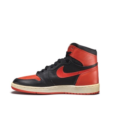 View 7. Thumbnail of Lot 7.  Peter Moore | 'Bred' Nike Air Jordan 1 High OG (1985) | Size 11.5.