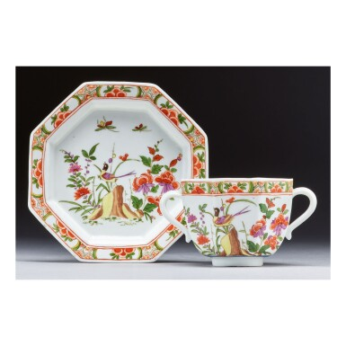 A RARE MEISSEN OCTAGONAL TWO-HANDLED CUP AND SAUCER CIRCA 1730