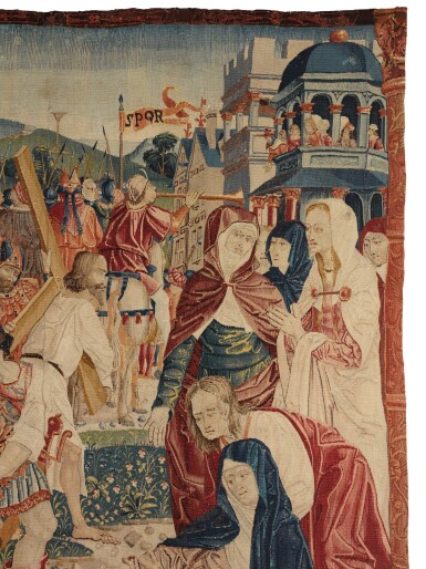 View 2. Thumbnail of Lot 74. THE ROAD TO CALVARY, A RARE FLEMISH NEW TESTAMENT BIBLICAL TAPESTRY FRAGMENT, NETHERLANDS, POSSIBLY TOURNAI, FROM THE SERIES OF THE LIFE OF CHRIST AND THE VIRGIN, DESIGNER UNKNOWN, EARLY 16TH CENTURY, CIRCA 1505-1516.
