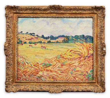 View 2. Thumbnail of Lot 258. Vaches dans un champ en Normandie.