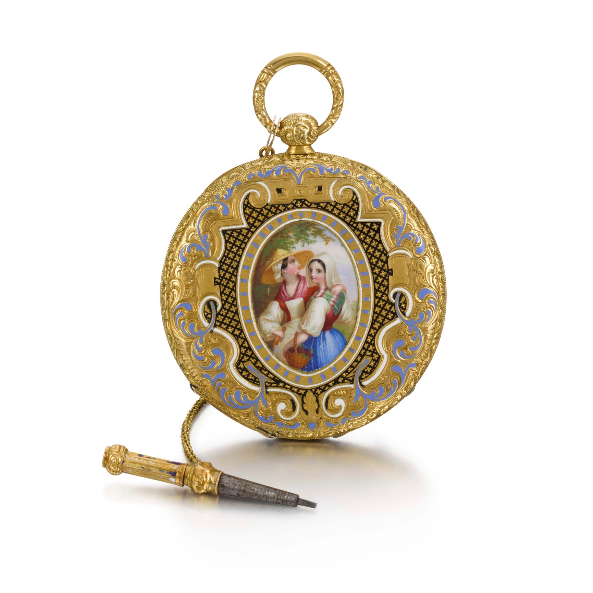 View full screen - View 1 of Lot 289. SWISS | A GOLD AND ENAMEL ULTRA SLIM BAGNOLET WATCH, CIRCA 1850 NO. 24389.