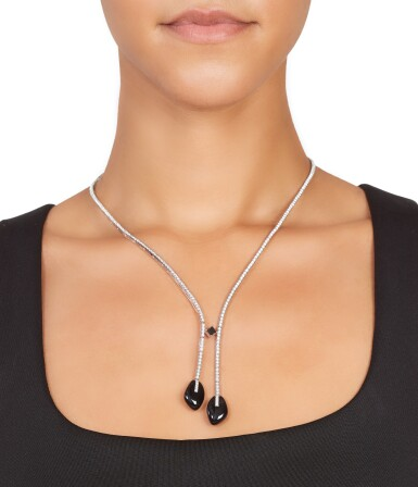View 2. Thumbnail of Lot 16. Giorgio Armani   18 Karat White Gold, Onyx and Diamond Necklace Worn and Donated by Julia Roberts.