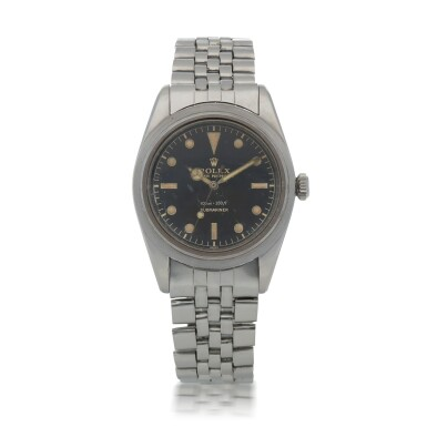View 1. Thumbnail of Lot 35. 'James Bond Small Crown' Submariner, Ref. 6536/1 Stainless steel wristwatch with bracelet Circa 1955   勞力士6536/1型號「'James Bond Small Crown' Submariner」精鋼鍊帶腕錶,年份約1955.