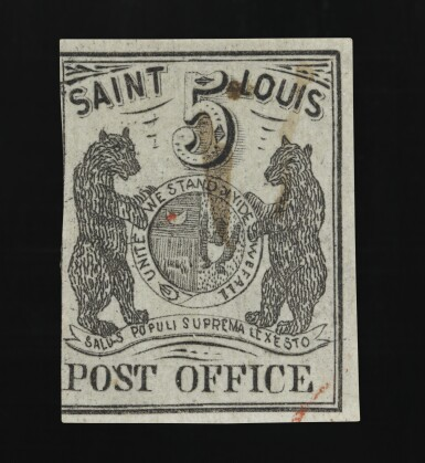 View 1. Thumbnail of Lot 15. Postmaster's Provisional St. Louis, MO. 1846 5c Black (III) on gray lilac (11X4).