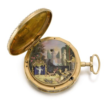 View 2. Thumbnail of Lot 23. 'THE GARDEN THEATRE'  SWISS | A RARE GOLD, ENAMEL AND PEARL-SET QUARTER REPEATING AUTOMATON WATCH WITH CONCEALED EROTIC SCENE FOR THE CHINESE MARKET  CIRCA 1800.