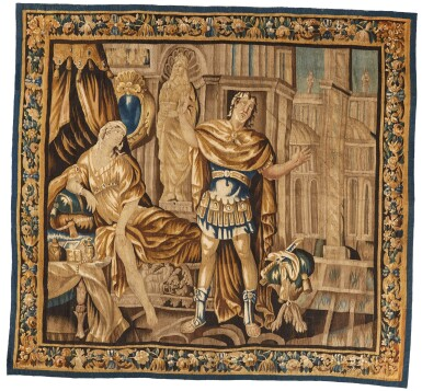 View 1. Thumbnail of Lot 18. A French classical tapestry, 'Portia', from the series illustrious women of Antiquity, Aubusson, second half 17th century, after Isaac Moillon.