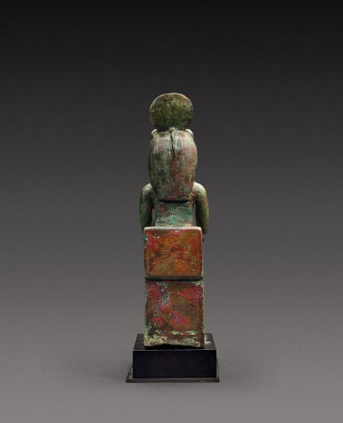 View 3. Thumbnail of Lot 38. An Egyptian Bronze Figure of a Lion-Headed Goddess, 26th Dynasty, 664-525 B.C..