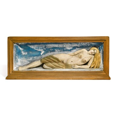 CARVED AND POLYCHROME PAINT-DECORATED WOOD WALL PLAQUE OF A RECLINING NUDE, 20TH CENTURY