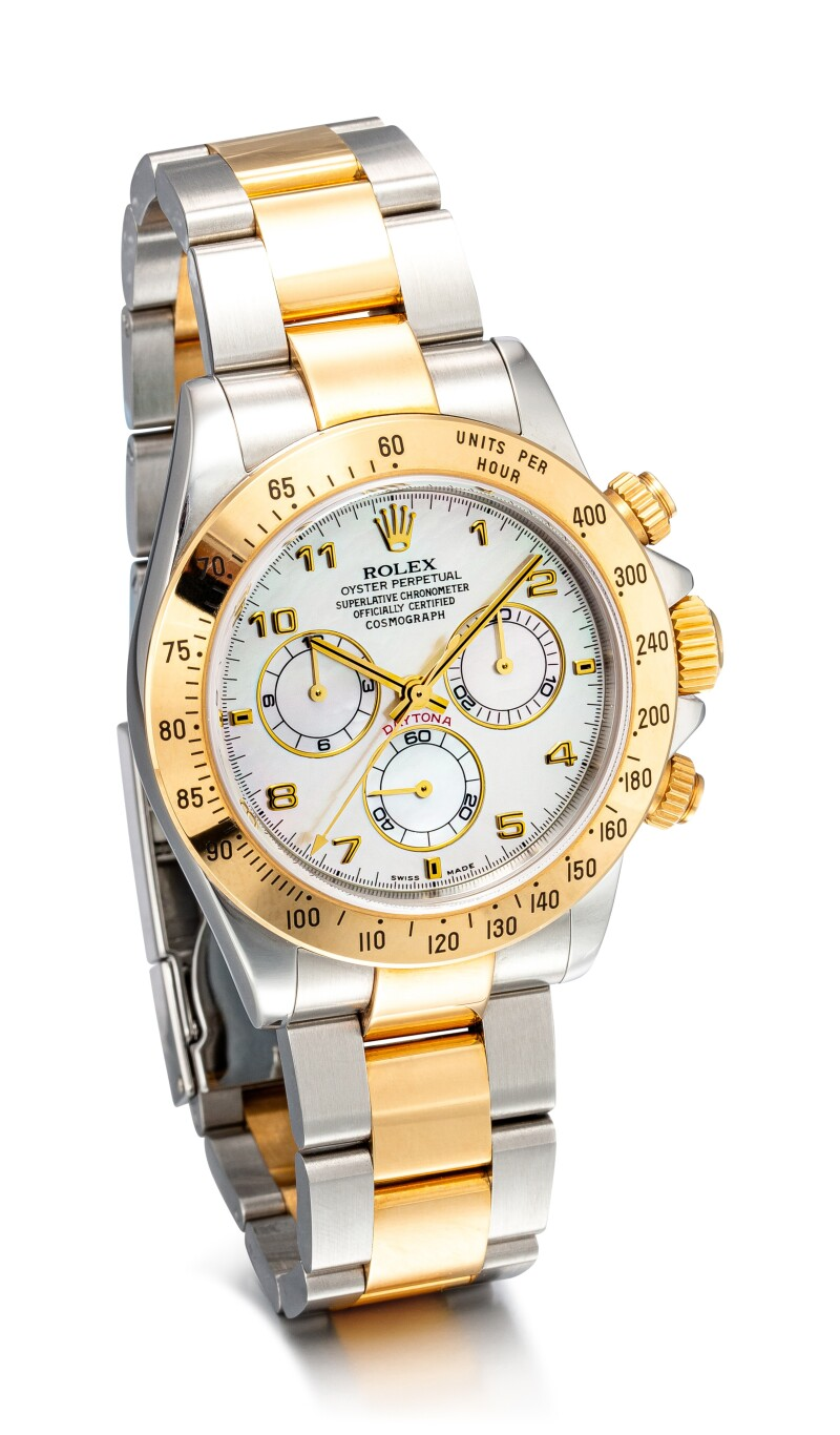 Cosmograph Daytona, Reference 116523 A Stainless Steel and Yellow Gold Chronograph Wristwatch with Mother-of-pearl Dial and Bracelet, Circa 2000