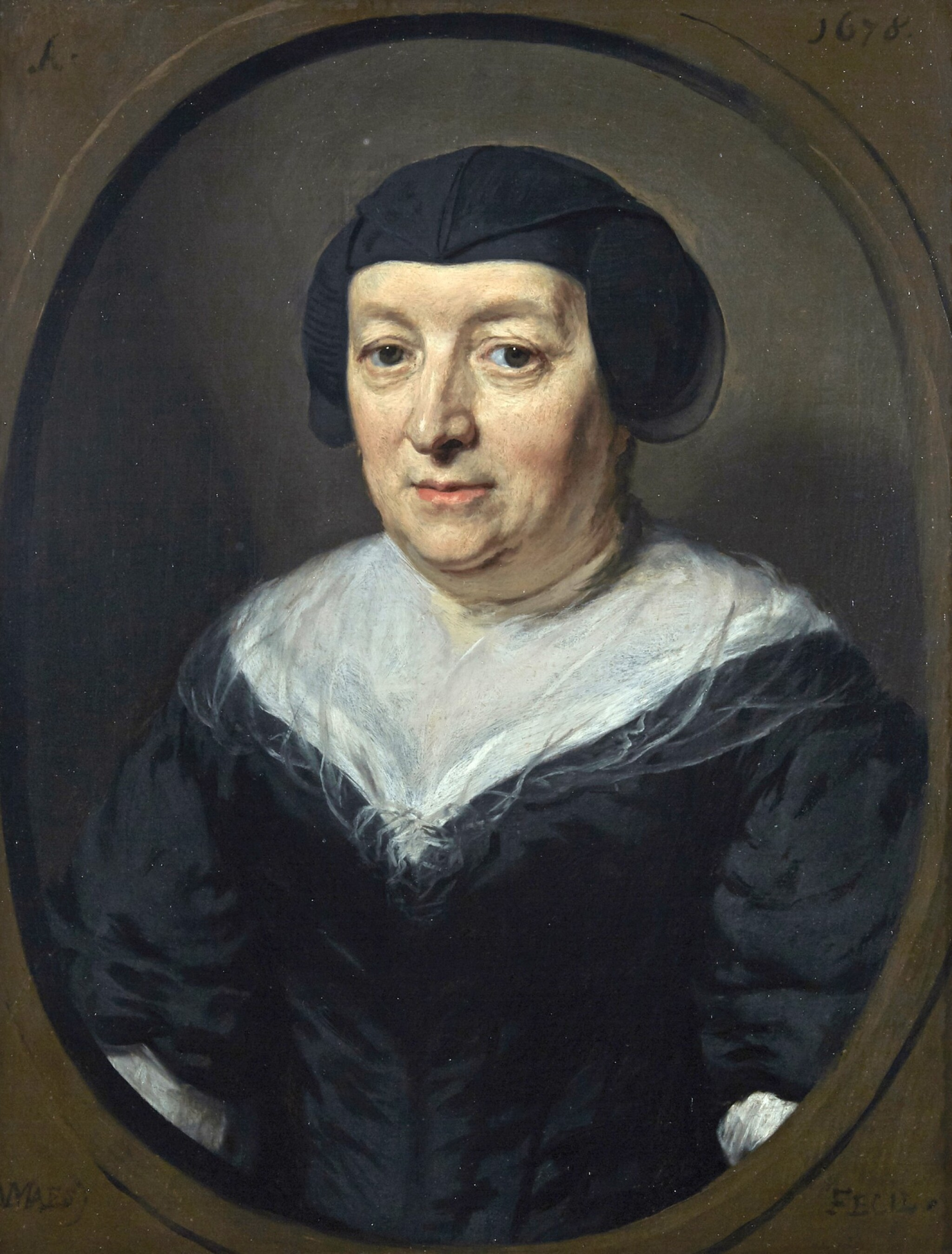 View full screen - View 1 of Lot 212. NICOLAES MAES | PORTRAIT OF BEATRIX SNELS (D. 1678), BUST-LENGTH, WEARING A BLACK DRESS AND A BLACK CAP.