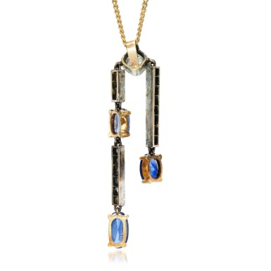 View 3. Thumbnail of Lot 125. Sapphire and diamond pendant, early 20th century.